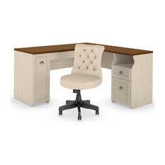 Fairview 60W L Shaped Desk and Chair Set in Antique White - Engineered Wood