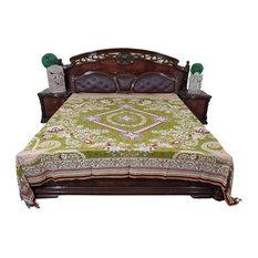Mogul Interior - Mogul Moroccan Bedding Pashmina Wool Pear Green Floral Blanket Throw - Blankets