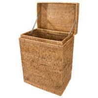Artifacts Rattan™ Rectangular Hamper With Hinged Lid, Honey Brown