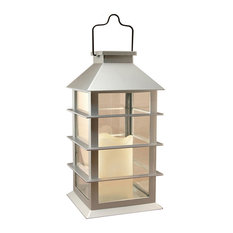 Solar Powered Lantern, Silver With LED Candle