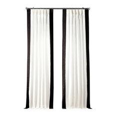"Vertical Colorblock Panama Single Panel Curtain, Fresh Popcorn/Black, 50""x108"""