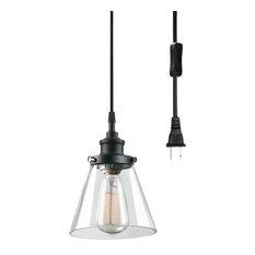 Skylar 1-Light Matte Black Plug-In Pendant