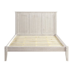 Shaker Style Panel Full Size Platform Bed, Weathered White, Queen