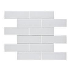 MTO0313 Modern Subway White Glossy Glass Mosaic Tile