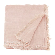 """""""Double"""" Linen Throw With Fringing, Powder Pink"""