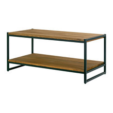 glamour home ailis brown pine wood black metal frame coffee table coffee tables