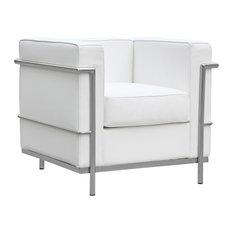 Fine Mod Imports Cube LC2 Petit Chair, White