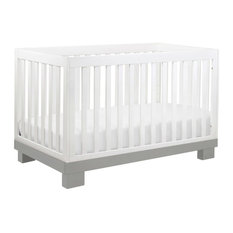 Modo 3-In-1 Convertible Crib With Toddler Bed Conversion Kit, Gray, Gray / White