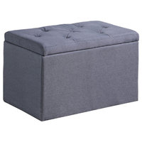 "18.5"" Dove Gray Shoe Tufted Gauze Storage Bench"