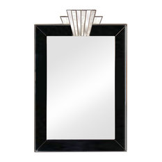 Vienna Royal Art Deco Wall Mirror, Jet Black/Silver Trim, 50x75 cm