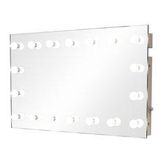 Wide Hollywood 18-Bulb Wall Mirror, Daylight, 100x60 cm