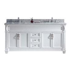 """Victoria 72"""" Double Bathroom Vanity Set, White, Marble"""