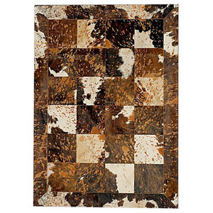 Patchwork Leather Cubed Cowhide Rug, Acid Brown and White, 200x300 cm