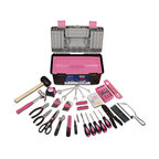 Apollo Tools 170 pc Household Tool Kit With Tool Box, Pink