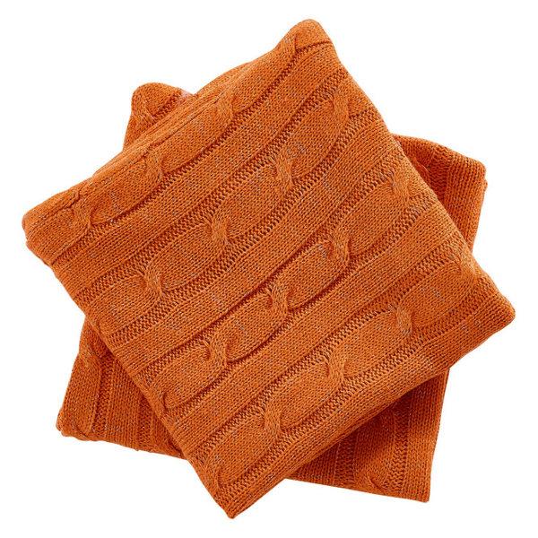 Cable Knit 2 Piece Lumbar Pillow Shell Set, Burnt Orange, 2 Piece, 14