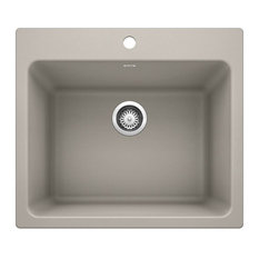 "Blanco 401927 Liven 25"" Dual Mount Single Basin SILIGRANT Laundry - Grey"