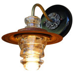 "Railroadware - Insulator Light LED Sconce Lantern 7"" Metal Hood, Dimming - Vintage lighting for that rustic or modern interior with historic connections to the railroad and early telecom industries. Insulator lights are regionally sourced and made in the USA. Some insulators are over a 100 years old. Insulators comes in a variety of colors, sizes and shapes."