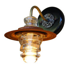 "Insulator Light LED Sconce Lantern 7"" Metal Hood, Dimming"