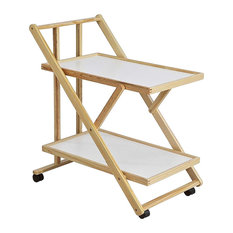 Modern Serving Trolley Cart, Solid Pine Wood Frame and 2 White MDF Shelves