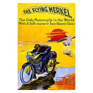 Flying Merkel 1913 Classic Motorcycle Touring Race Poster 20x30