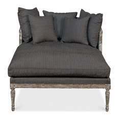 Sarreid, Ltd. - Lounge Chair, Linn Stripe, Caned Back - Indoor Chaise Lounge Chairs