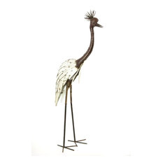 Swahili African Modern White Recycled Metal Crowned Crane Sculpture , Large