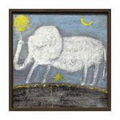 Baby Elephant Drawn Gray Blue Reclaimed Wood Wall Art - Small