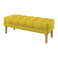 Majestic Upholstered Oak Ottoman With Square Legs, Yellow, Large