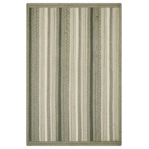 Homespice Portsmouth Stripe Gray Wool Braided Rug 4'x6', Rectangle, Gray