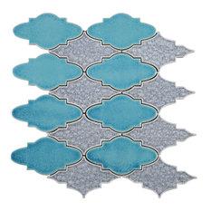 "12.25""x13.75"" Candace Mosaic Tile Sheet, Blue"