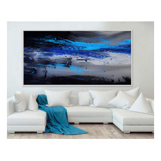 """Blue Sky"" 72x36 IN Blue Black abstract Art Large Modern Painting MADE TO ORDER"