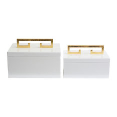 Avondale Boxes, White , Set of 2
