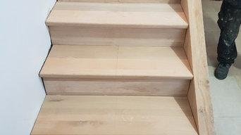 Réfection d'un escalier sur mesure en chêne massif.