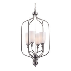 4-Light Etched White Glass Shade Brushed Nickle Cage Chandelier