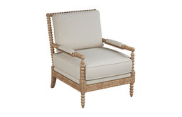 Orinda Beige Accent Chair With Oak Frame