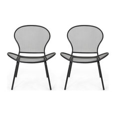 Bernice Modern Outdoor Iron Club Chair, Set of 2, Matte Black