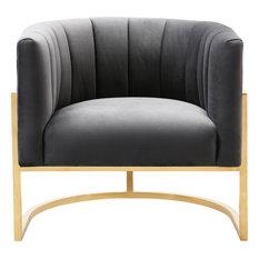 Magnolia Slub Chair, Dark Gray, Gold