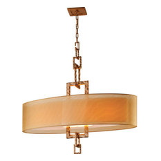Troy Lighting Link 4 Light Linear Chandelier in Bronze Leaf with Organza Shade