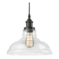 Vintage Industrial Bronze Pendant Lamp, Clear Glass
