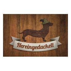 """""""Hereingedackelt"""" Dachshund Gallery Door Mat, Large"""