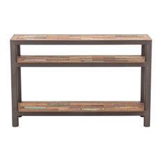 Modern Salvaged Wood & Steel Console Table 3 Shelf Tops - Ocean Collection