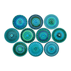 Superieur 10   Turquoise Mandala Cabinet Knobs, 10 Piece Set   Cabinet And Drawer  Knobs