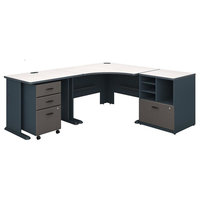 "Series A 48"" Corner Desk With 36"" Return and Storage, Slate, White Spectrum"