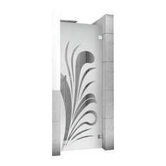 "Hinged Alcove Shower Door With Palm Leaf Design, Semi-Private, 24""X75"""