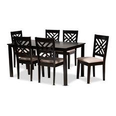 Caron Modern Sand Fabric Espresso Brown Finished Wood 7-Piece Dining Set