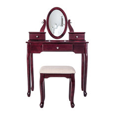 Vanity Set with Flip Top Mirror Makeup Dressing Table and Cushioned Stool
