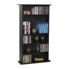 Black Media Storage Cabinet Bookcase