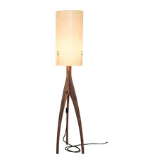 Pirol furnituring - Rocket Floor Lamp, Cream Shade, Walnut Stand - Floor Lamps