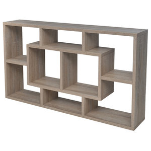 VidaXL Floating Wall Display Shelf, Oak, 8 Compartments, Oak
