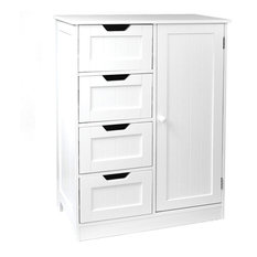 Tetrad 4-Drawer Tongue and Groove Bathroom Chest With Cupboard, White